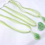 Fashion multi green ribbons lampwork glass necklace