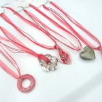 Fashion multi red ribbons lampwork glass necklace