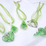 Fashion multi lime ribbons lampwork glass necklace