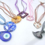 Fashion multi assorted color ribbons lampwork glass necklace