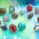 Gemstone fashion jewelry semi-precious stone rings