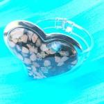 Golden chips black heart handcrafted glass bangle