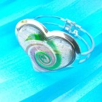 Spiral heart shape glass metal bangle