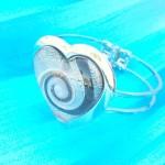 Glass metal heart shape black swirl bangle