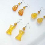 Vintage faux amber fish hook amber earring