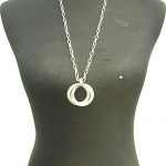 wholesale high fashion jewelry double circle cz pendant necklaces