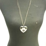 double chain long necklace with heart and swan design in black tone