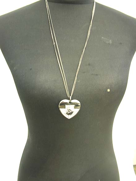 long-necklaces, double chain long necklace with heart and swan design in black tone