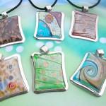 Wholesale murano glass pendant jewelry rectangular