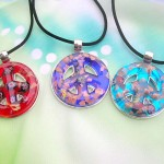 wholesale peace sign jewelry, murano glass peace-sign necklace