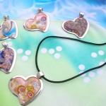 heart love jewelry fashion accessories, murano glass pendant necklace