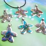 seashell design Venetian art glass jewelry pendant necklace