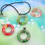 wholesale murano glass jewelry circle pendant necklaces