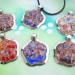 floral shape murano glass pendant necklace