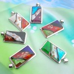 Rectangular design handcrafted murano glass necklace wholesale
