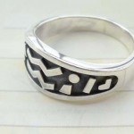 925. stamped silver ring with ancient sign design