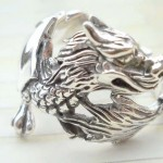 Trendy 925. stamped silver ring with dragon design