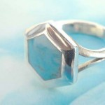 Outstanding 925. stamped silver ring with turquoise hexagon design