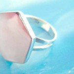 Fashion stamped 925 sterling silver a pinky seashell hexagon ring
