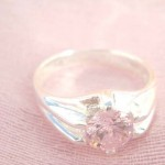 Enlarge pendant pinky flower cz design, precious 925. sterling silver ring