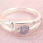 Favorite 925. stamped silver ring motif square shape holding purple cz design