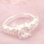 925. stamped silver ring with clear crystal design