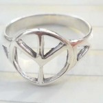 Plain stamped 925 sterling silver ring with peace sign design