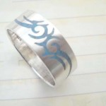 Collectible stamped 925 sterling silver tattoo fire ring