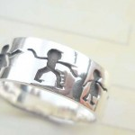 African theme design,vintage 925. stamped silver ring