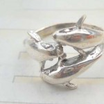 Unique 925 sterling silver ring with triple dolphin design