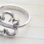 Collectible stamped 925 sterling silver flower frame ring