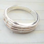 Great stamped 925 sterling silver etch-in line pattern ring