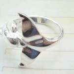 Great stamped 925 sterling silver curvy dolphin ring