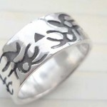 Collectible stamped 925 sterling silver ring with tattoo crab design