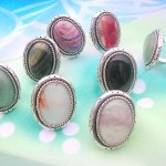 Genuine agate rings, semi-prescious gemstone from Brazil