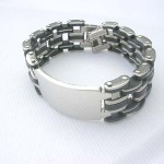 Watch band black and silver silver pendant stainless steel bracelet