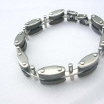 Cylinder and olive shape stainless steel bracelet
