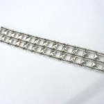 Triple line holding square tube wide fashion stainless steel bracelet