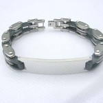 Black stainless steel fashion silver pendant bracelet
