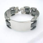 Black stainless steel fashion silver rectangular pendant bracelet