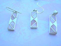 Fine 925 sterling silver rectangular with irregular pinky fresh water jewelry set