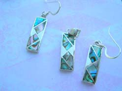 Fine 925 sterling silver rectangular new age paua fresh water jewelry set, made in Thailand