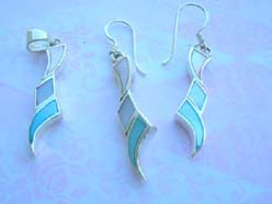 Funky style assorted seashell, quality 925 sterling silver jewelry set
