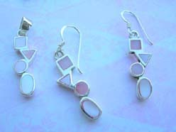 Hip hop style pinky seashell, quality 925 sterling silver jewelry set