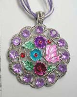 Shiny fashion enamel necklace with cz
