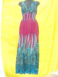 Sleeveless peacock feather pattern maxi dress