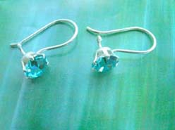 Topaz round cz, Stamped 925 sterling silver earring