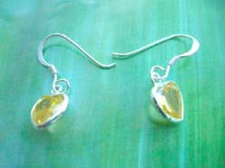 Green yellow cz, Stamped 925 sterling silver earring