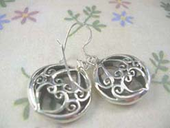 Heart filigree,Thailand 925 sterling silver earring