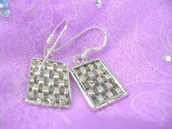 Crafted square woven, Stamped 925 sterling silver earring